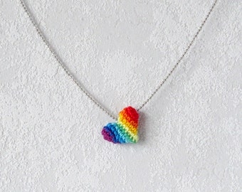 Necklace Rainbow Heart, Necklet with multicolor Heart, colorful textile jewelry, little heart pendant with silver ball chain, diversity gift