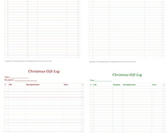 Printable Simple Christmas Gift Logs, red and green, two styles, gift record sheets