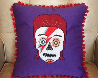 David Bowie Aladdin Sane Day of the Dead Sugar Skull Embroidered Calavera on Purple Pillow Cushion with Red Pom Pom Fringe