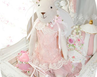 Pink Princess Victorianna Grace Ballerina Bunny  Shabby Chic Victorian Bunny Rabbit Rose Easter Bridal Doll White French Lace