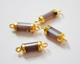 Pink Moonstone Bar Connector, Gold Moonstone Pendant, Moonstone Stone Bar, Gold Dipped, Bar Connector, 20 x 5mm