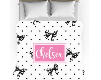 Monogram Bedding - Preppy Black Bow and Dots Personalized Comforter w/matching cases - Teen Bedding Set - Personalize with Name or Monogram