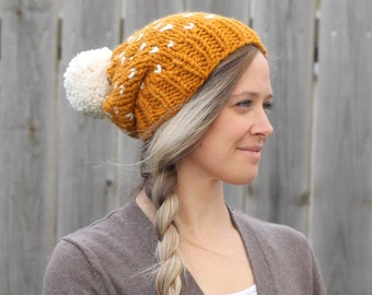 Woman's Heart Fair Isle Knitted Slouchy Hat in Butterscotch Yellow with Off White Pom Pom