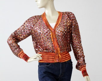 vintage sequin cardigan, Italian knitwear top, v-neck cardigan sweater