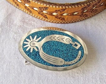 Vintage Belt Buckle Boot Spur Old West Style Belt Buckle Turquoise Chip Inlay Belt Accessory 1970s