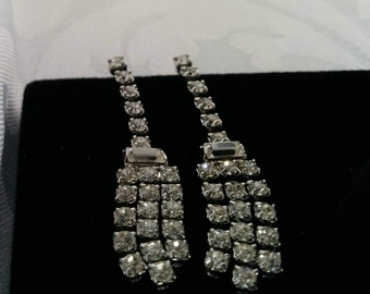 Vintage Rhinestone Earrings, Dangle Rhinestone Earrings, Crystal Earrings