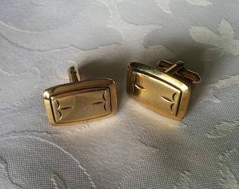 Gold Tone Cuff Links, Cufflinks, Cuff Links, Rectangular Cuff Links