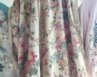 Stunning Antique Vintage Faded French Curtain Panel Roses Flowers Basket Vase Pink Shabby Chic Romantic Long Panels