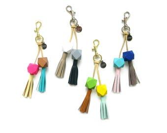 Leather Tassel Lariat Clip   Bag Charm   Tassel Clip   Beaded Purse Charm    Leather Tassel Keychain    Leather Tassle Clip   Upcycled