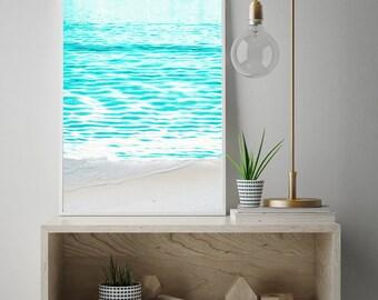 ocean art, abstract ocean, california beach, beach art, nature art, california, hawaii, bahamas, hospitality art, teal blue ocean, water