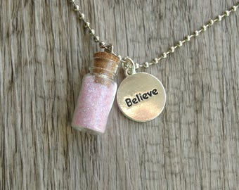 TINKERBELL Fairy Magic Sprinkles Necklace SMALL 22x11mm Choose Color Cork Glass Bottle Glitter Elf Pixie Dust Neverland Tinkerbell