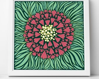 Art Print Square Floral Illustration Giclee Pink and Green