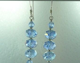 Blue Swarovski Crystal Colorful Wedding Prom Sterling Earrings