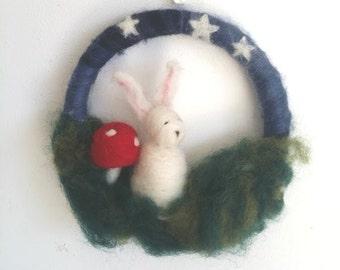Night Rabbit Medium Wreath/ Wall hanging rabbit toadstool stars