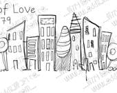 INSTANT DOWNLOAD Digi Stamp Digital Image Whimsical Hand drawn Cityscape ~ City of Love Image No.379 by Lizzy Love