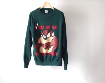 SPACE Jam style 90s TAZ looney tunes classic GRUNGE attitude forest green sweatshirt