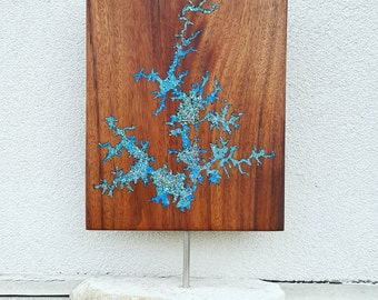 Handcrafted Walnut Inlaid Lake Map Mantel Piece on Marble Base, Custom Any Lake