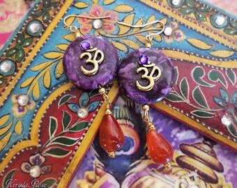 "FREE SHIP! Orange Carnelian & Purple Agate Gemstone Om Symbol Earrings, Gold Om Symbol, Hindu, Buddhist, Spiritual, 2 1/2"""