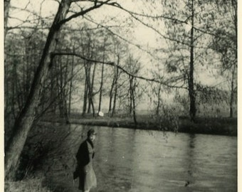 "Vintage Photo ""Exploring Forgotten Streams"" Snapshot Antique Photo Old Black & White Photograph Found Paper Ephemera Vernacular - 186"