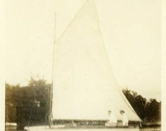 "Vintage Photo ""Romantic Sailing"" Snapshot Antique Photo Old Black & White Photograph Found Paper Ephemera Vernacular - 17"