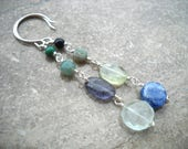Green and blue stone earrings: A Body and Soul   Long earrings   Unmatched earrings   Blue green earrings   Sterling silver   Blue   Green