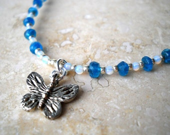 Peacock blue apatite butterfly necklace: A Shoulder to Light On - apatite necklace, butterfly necklace, peacock blue necklace, teal blue
