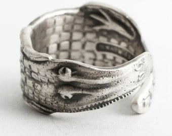 Alligator Ring, Thumb Ring, Sterling Silver Spoon Ring, Swamp Ring, Gator Rings, Alligator Jewelry, Gator Jewelry, Adjustable Ring Size 6611