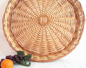 """Large Wicker Round Tray, 16.5"""" Serving Tray, Light Natural /Honey Brown Woven Rattan Wall Basket Tray, Boho, Jungalow, Coastal Decor"""