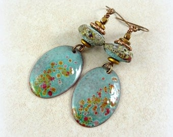 Rustic Blues - Enamel Charm Earrings - Light Blue with Copper and Bronze Accents - Rustic Artisan Lampwork Beads