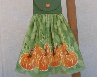 Pumpkin Kitchen Tea Towel, Fall Pumpkin Hanging Dish Towel, Kitchen Towels, Oven Towel