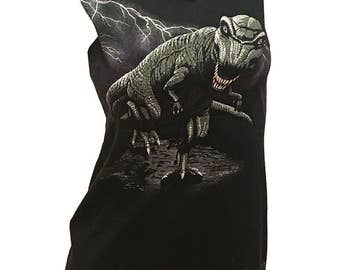 Savage Vintage DINOSAUR Reshaped 2sided T-Shirt / Tunic sz. S / M