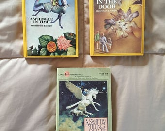 Madeleine L'Engle 3 book set   A Wrinkle in Time   A Wind in the Door   A Swiftly Tilting Planet   Free Priority Shipping in the US