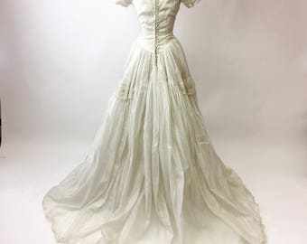 1950s Sequin Beaded Wedding Dress