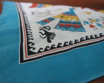 Vintage Native American Southwestern Aztec Tepee Festival Bandana