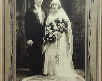 20% OFF Beautiful Bride & Groom Wedding Photo Portrait in Cardboard Frame, Krawczyk Studio Syracuse NY, 7x10in, Antique Art Deco Ephemera c1