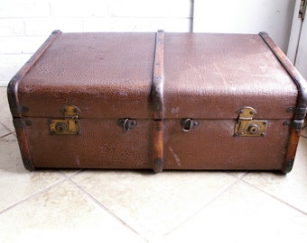 Large Vintage English Hard Side Canvas Suitcase with Wood Ribs and Brass Hardware