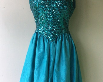 1980s Bright Blue SEQUIN Party Dress // Costume // Size Med