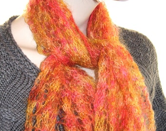 Lace scarf knit kit with KiSSS Mohair Silk yarn