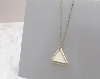 Wey - Long Clay & Brass Triangle Necklace; Sleek Sculptural Modern Minimalist Contemporary (Collier Géo; Dreieckhalskette) by InfinEight