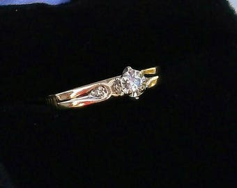 Antique 14k Yellow and White Gold Diamond  Ring size 6 1/2