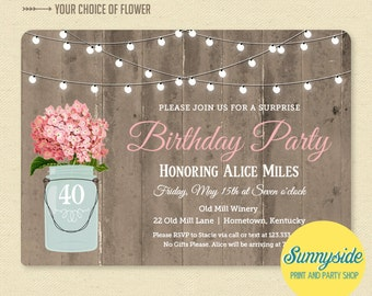 Rustic Mason Jar Birthday Invitation - Surprise Birthday Party Invitation - Printable Barnwood & Lights Birthday Invite