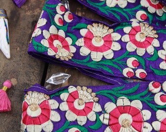 "Purple Festive Blossom: Floral Pink, White, Silk Trim, Ribbon, Sari Border, India 3""x1 Yard, Happy Boho Floral Craft, Sewing Supply"
