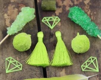 Silky Greenery : Tassels & Pom Poms, 2017 Spring Pantone Jewelry Making DIY Kit, Supplies, 2 Silky Tassels, 2 Cotton Pom Poms with loops