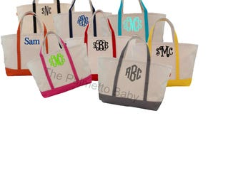 Monogrammed Large Boat Tote- Canvas-  Boat Totes -Personalized Tote - Beach Bag - Bridesmaid Gift