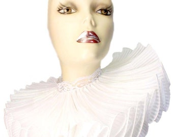 Ruffled Collar Iridescent White Opulence Huge Elizabethan Neck Ruff Victorian Steampunk Edwardian