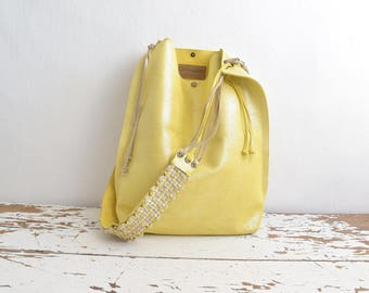 Lemon Yellow Shimmer Suede Tote with Tassels and Handwoven Strap - Ready to Ship - OOAK