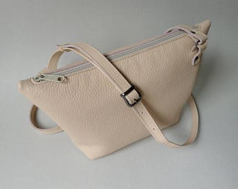 Pouch bag - nude leather - silkscreened lining