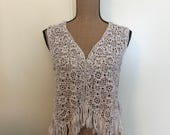Irish Roses Western Style Fringed Lace Vest, Crocheted Beige Cotton Women's Size L/XL