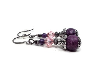 Pink Purple Beaded Earrings Speckled Spotted with Crystals Gunmetal Plated Antiqued Silver Retro Style Fashion Jewelry