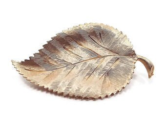 Brushed Gold Tone Vintage Leaf Brooch Pin Fall Autumn Shawl Jewelry Retro Womens